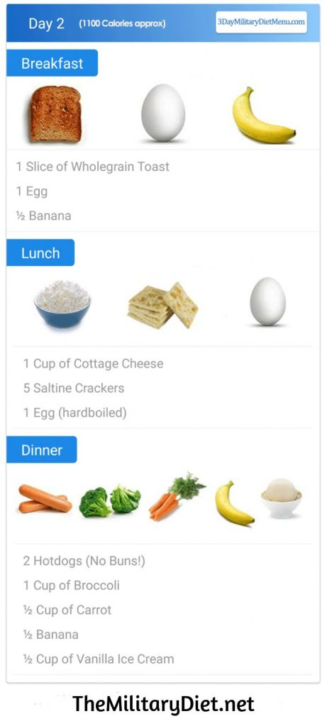 Military Diet Day 2 Meal Plan